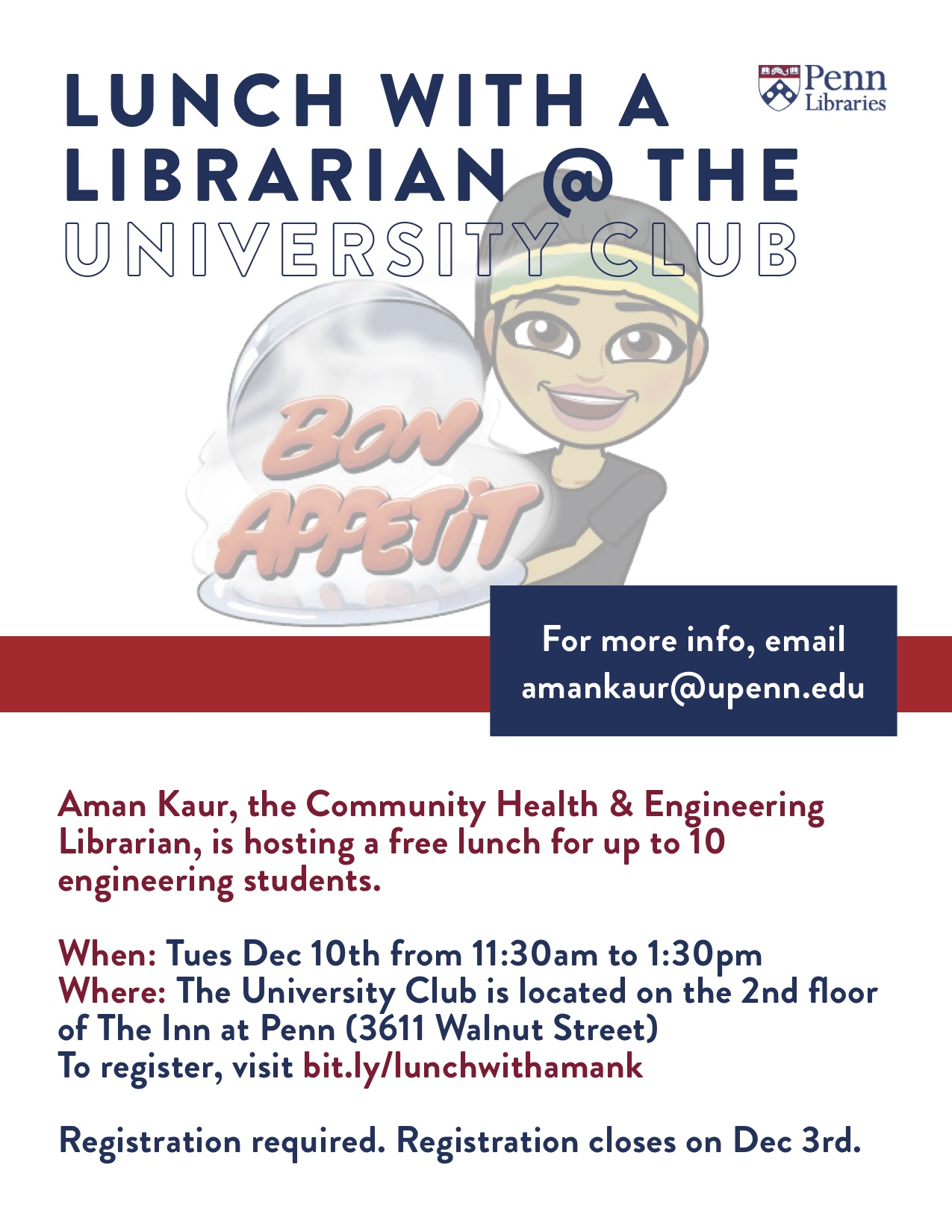 Lunch with a Librarian at the University Club on Dec 10th for engineering students. Click here to register.