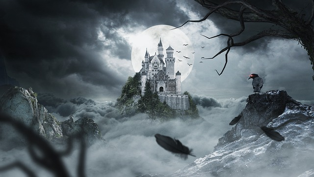 Image of Spooky Castle, Scarecrow, Moon