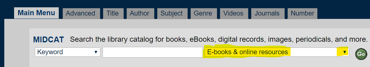 image of MIDCAT search screen with ebooks selected