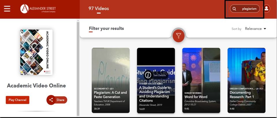 search of plagiarism in Academic Video Online database; there are 97 results in this screenshop