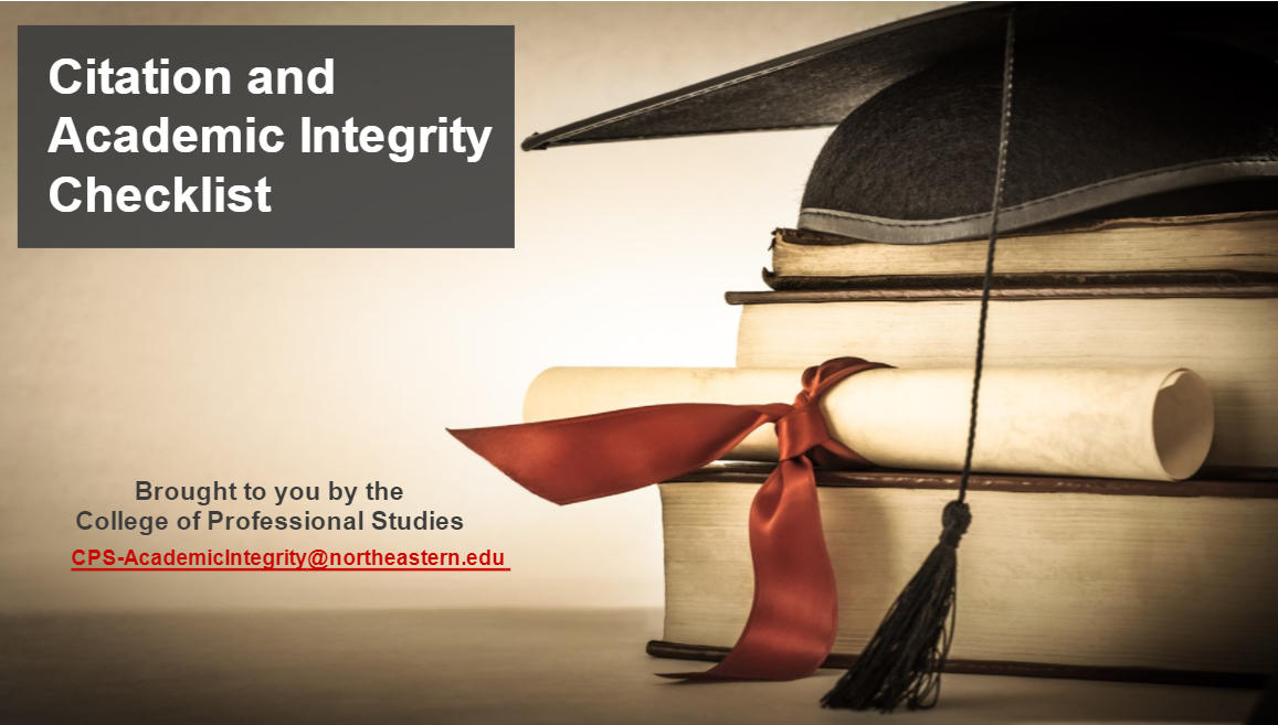 Title screen for Citation and Acadeic Integrity Checklist from CPS Academic Intergrity
