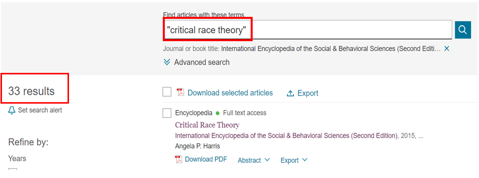 screen shot of  search result for critical race theory in International encyclopedia of sociasl and behavioral science