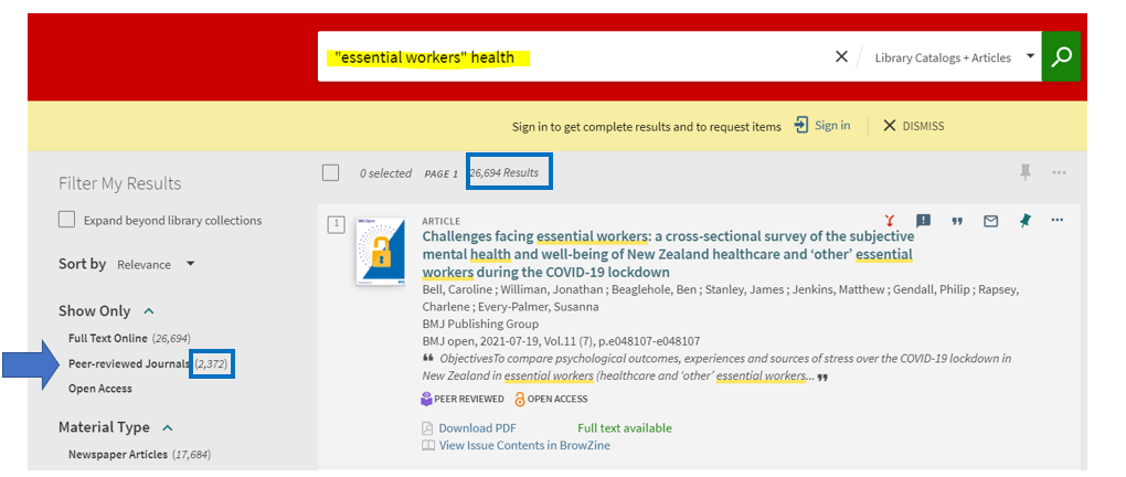 """Sample Scholar OneSearch screen showing a search on """"essential workers"""""""