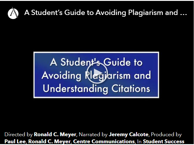 """Image of video title screen for """"A Student's Guide to Avoiding Plagiarism:"""