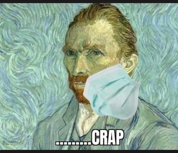 van Gogh self portrait with hanging face mask--he's missing an ear