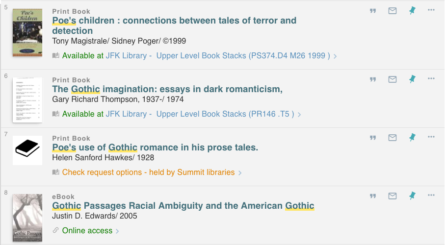 example of results list for the search poe gothic in the EWU Library Catalog