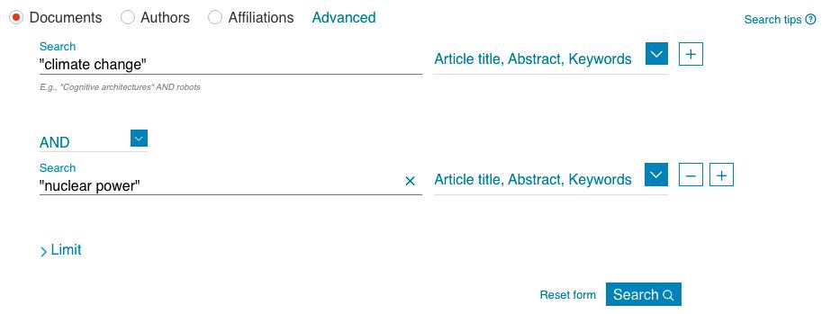 Screenshot of Scopus Document Search