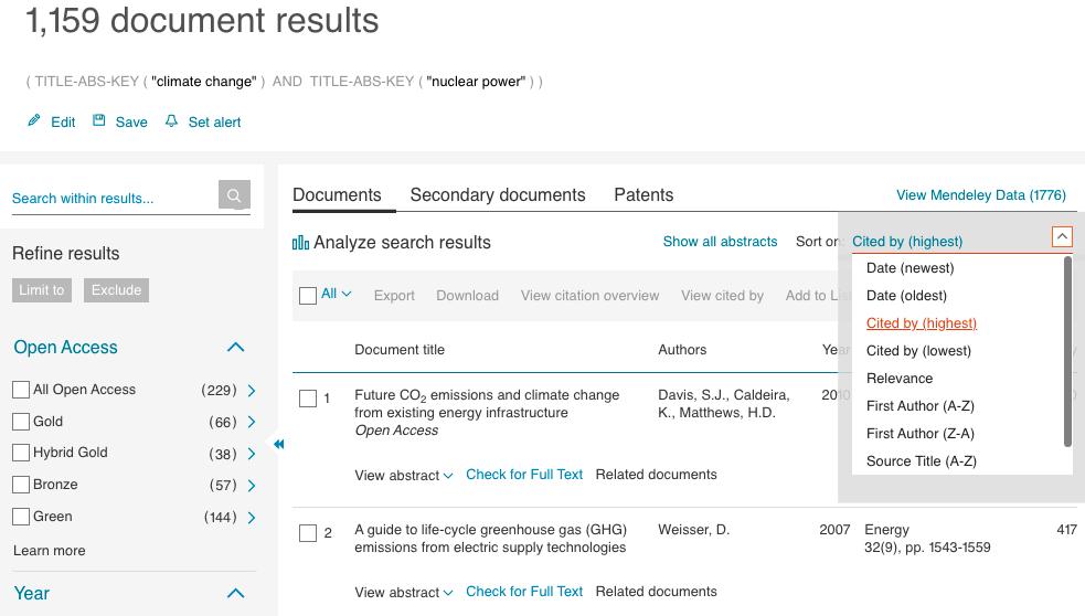 Screenshot of Scopus results list