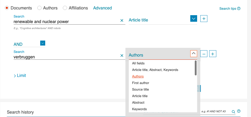 Screenshot of searching Scopus by article title and author