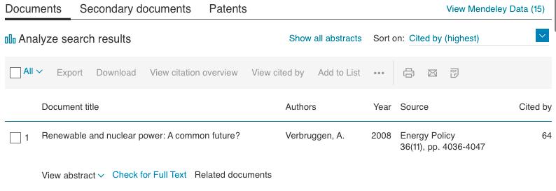 Screenshot of Scopus result list