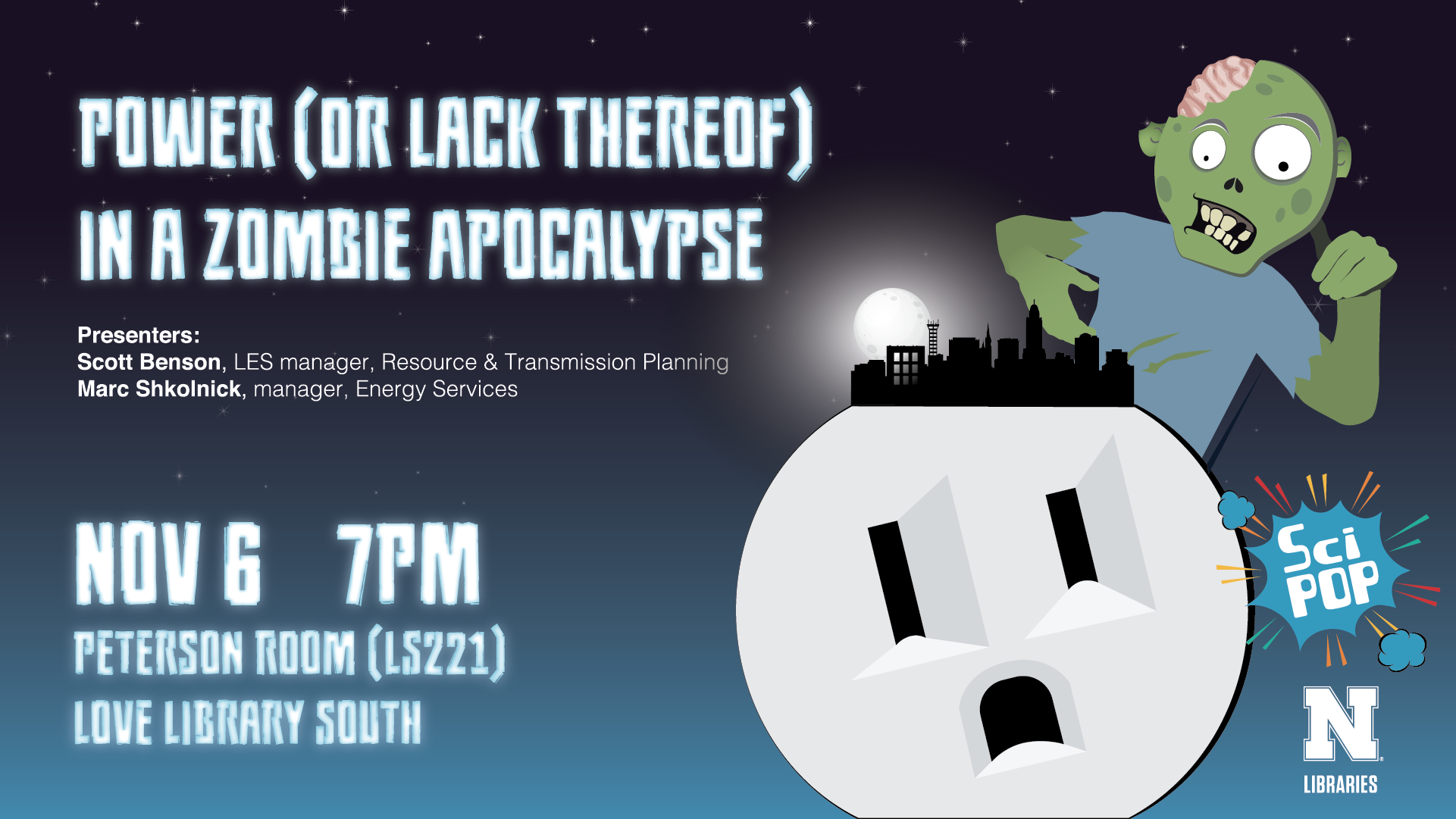 Image of a zombie looming above city skyline sitting on top of a giant scared electrical outlet, along with the name of the talk, speaker, and location information.