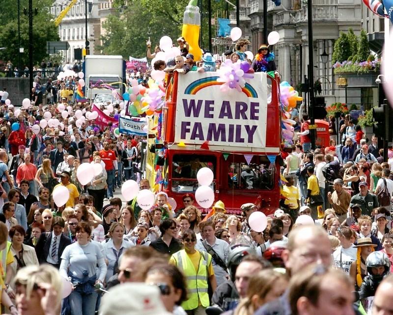 London Scenes - Pride Parade - Gay festival - 2004. Photography. Britannica ImageQuest, Encyclopædia Britannica, 25 May 2016. quest.eb.com/search/158_2478457/1/158_2478457/cite. Accessed 28 May 2021.