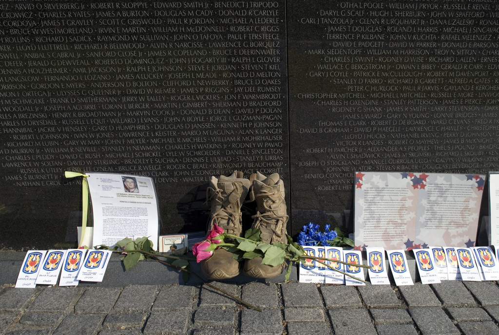 MEMORIAL DAY, 2006. Flowers and boots at the Vietnam Veterans Memorial in Washington, D.C., on Memorial Day. Photograph by Carol M. Highsmith, 2006.. Photograph. Britannica ImageQuest, Encyclopædia Britannica, 31 Aug 2017. quest.eb.com/search/140_1805375/1/140_1805375/cite. Accessed 29 Apr 2021.