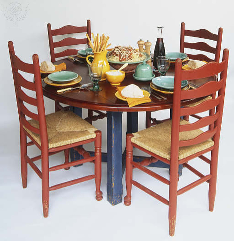 Round wooden table set for a meal. Photograph. Britannica ImageQuest, Encyclopædia Britannica, 25 May 2016. quest.eb.com/search/118_817973/1/118_817973/cite. Accessed 29 Jul 2021.