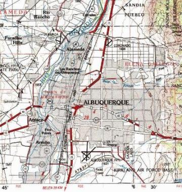 Detail of 1983 US Geological Survey topographical map of Albuquerque