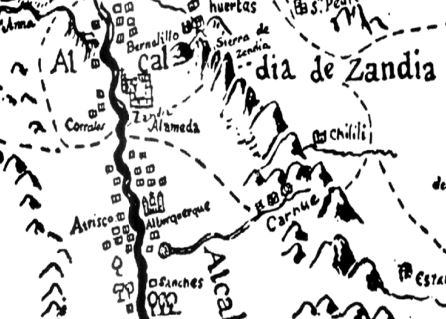 Detail of 1779 map showing village of Atrisco