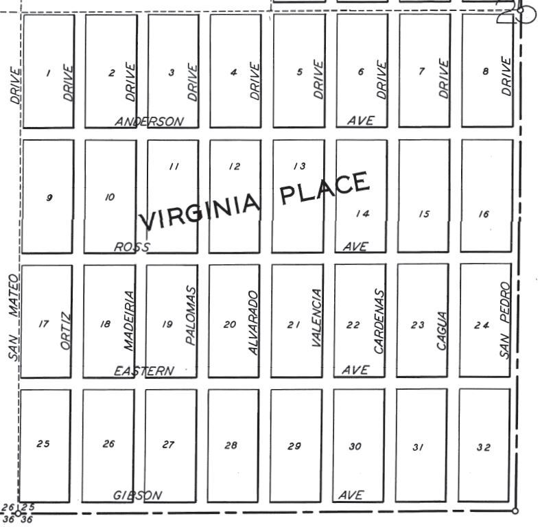 1928 map of Virginia Place addition