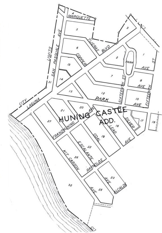 1928 City Map Huning Castle