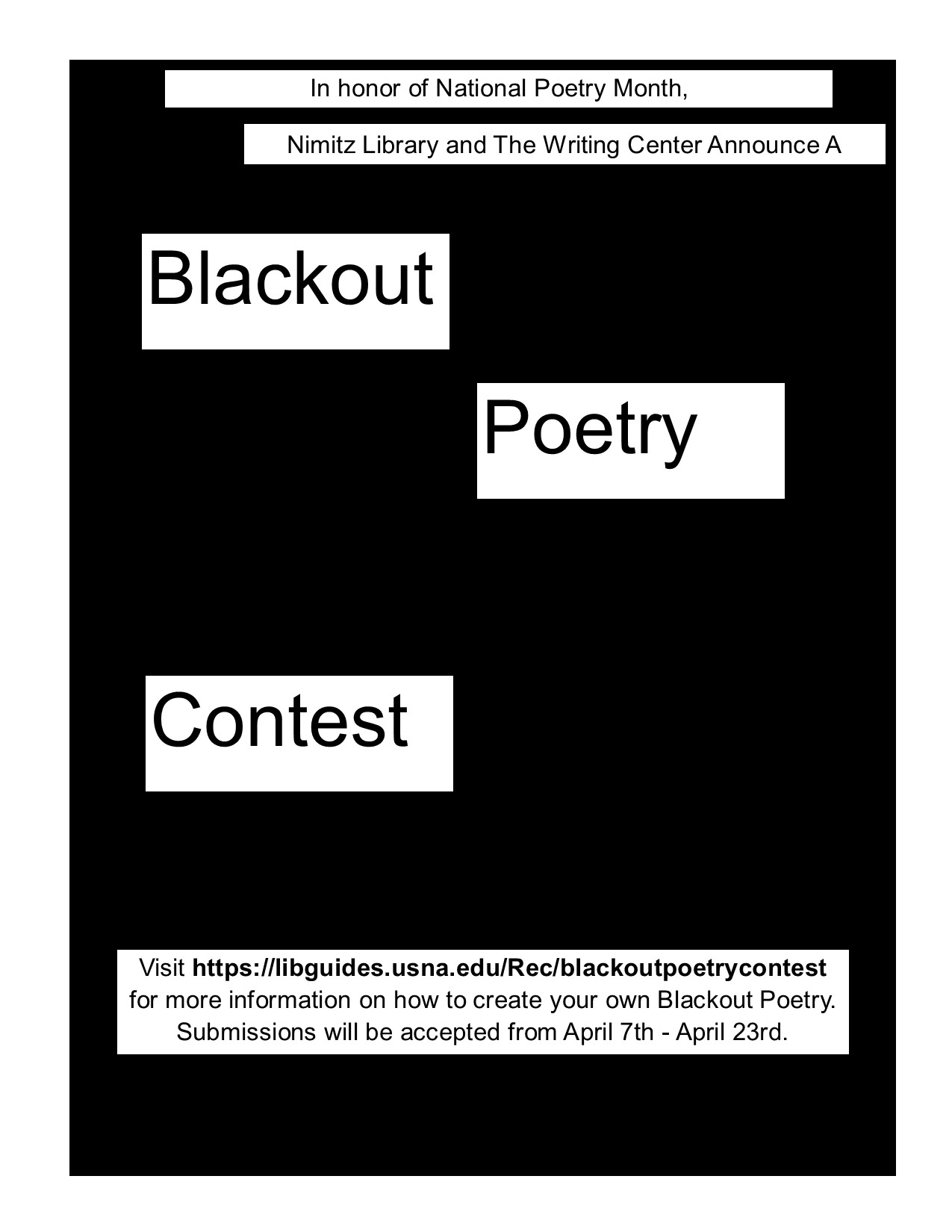Blackout poetry contest flier