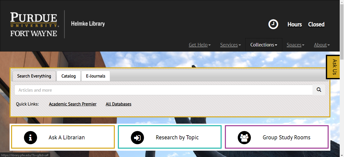 Front Page of the Library's website. The search bar is in the middle of the page.