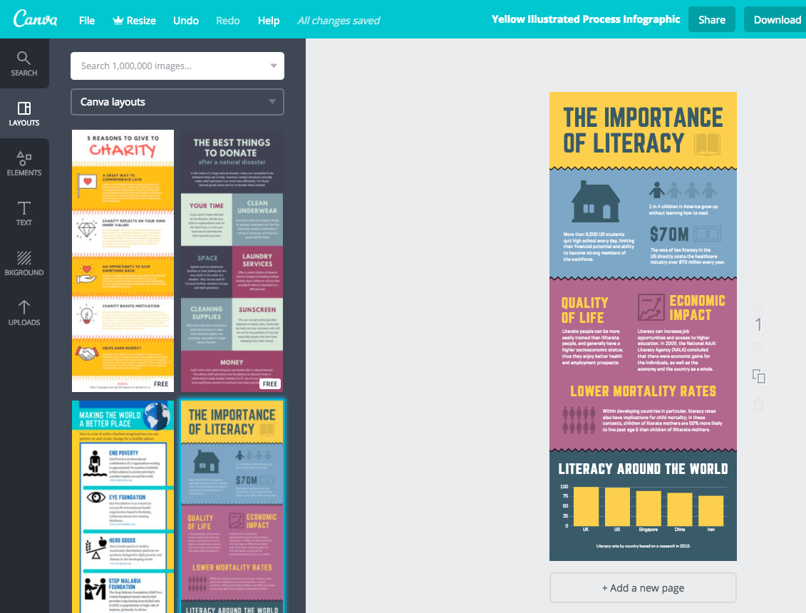 Image of Canva infographic design interface