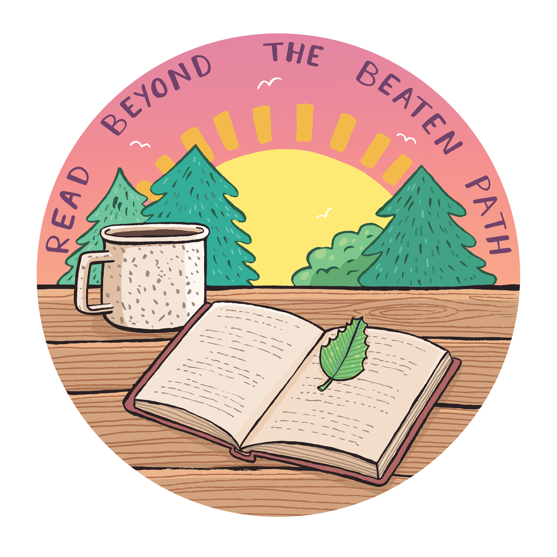 camp style badge with artwork of sunset, pine trees, a mug, and an open book