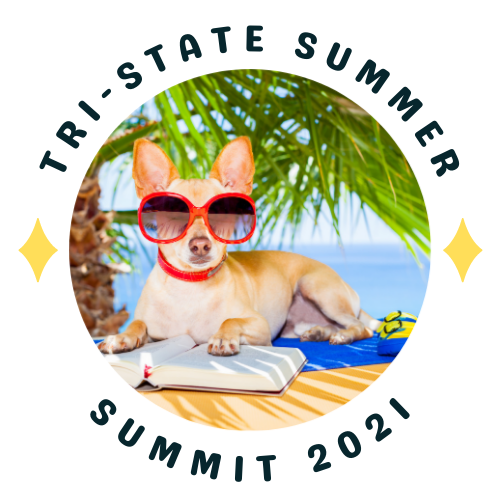 tri state summer summit logo. photo of dog in sunglasses reading a book under a palm tree.