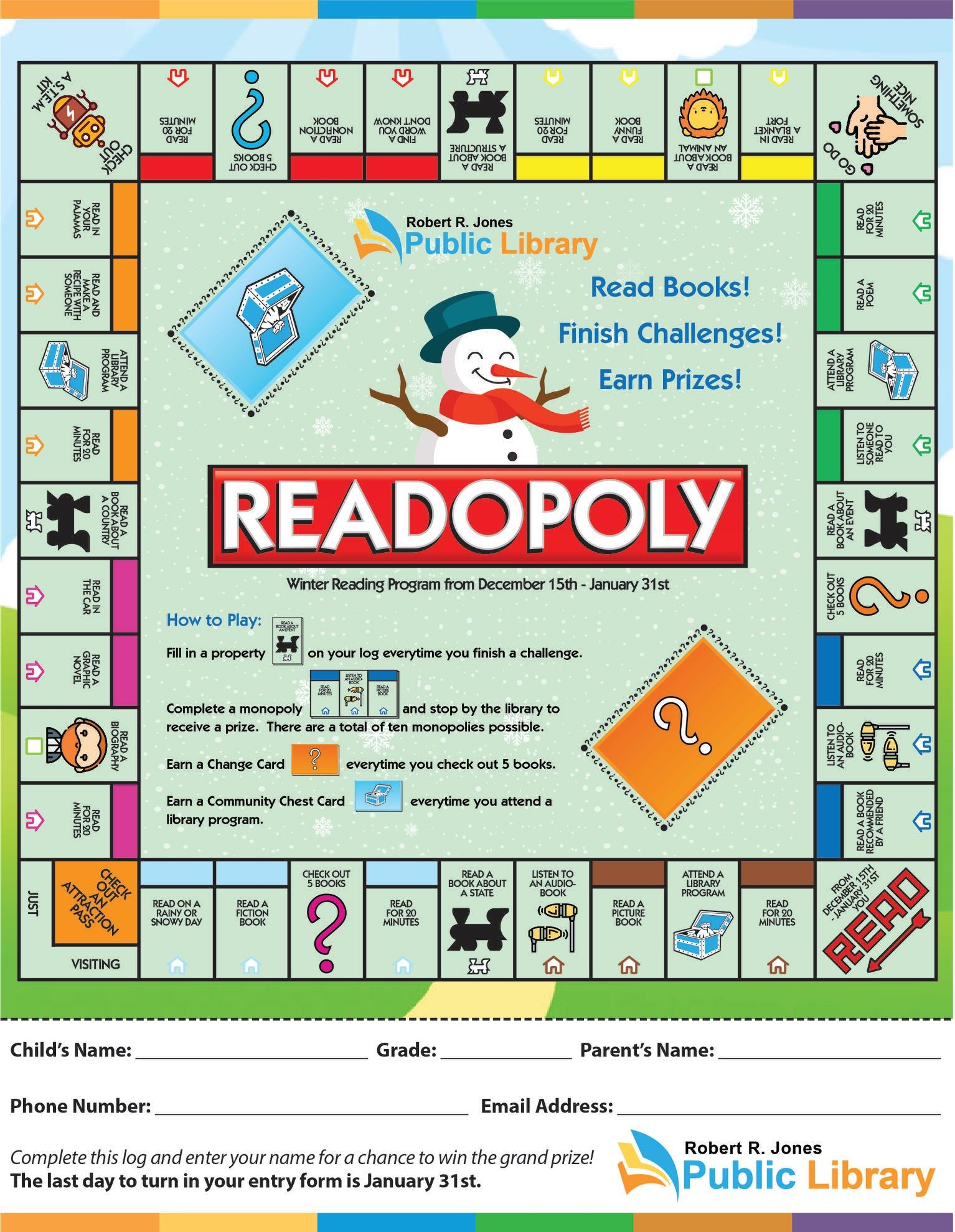 monopoly style reading game board