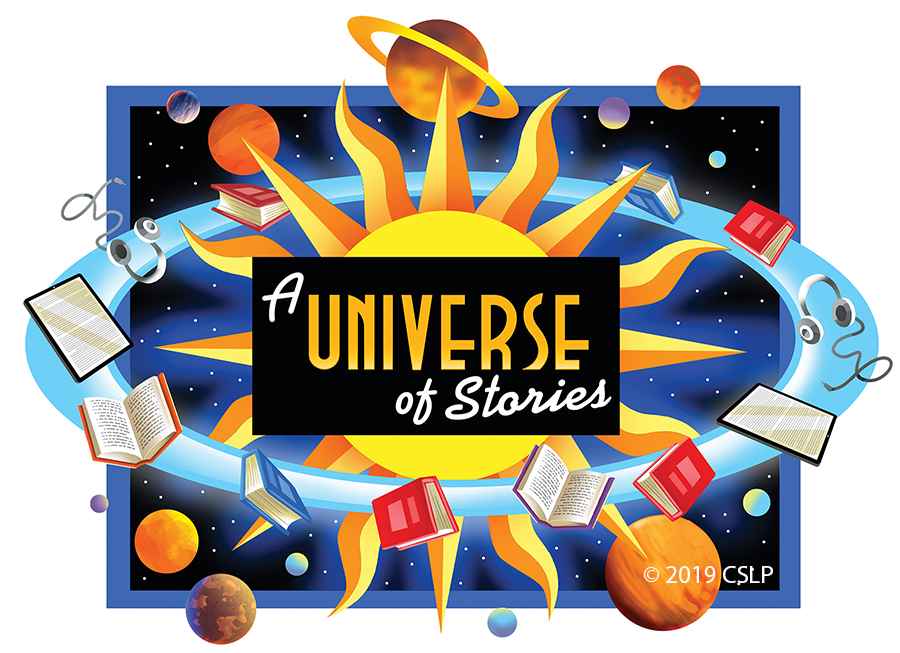 A Universe of Stories space themed logo