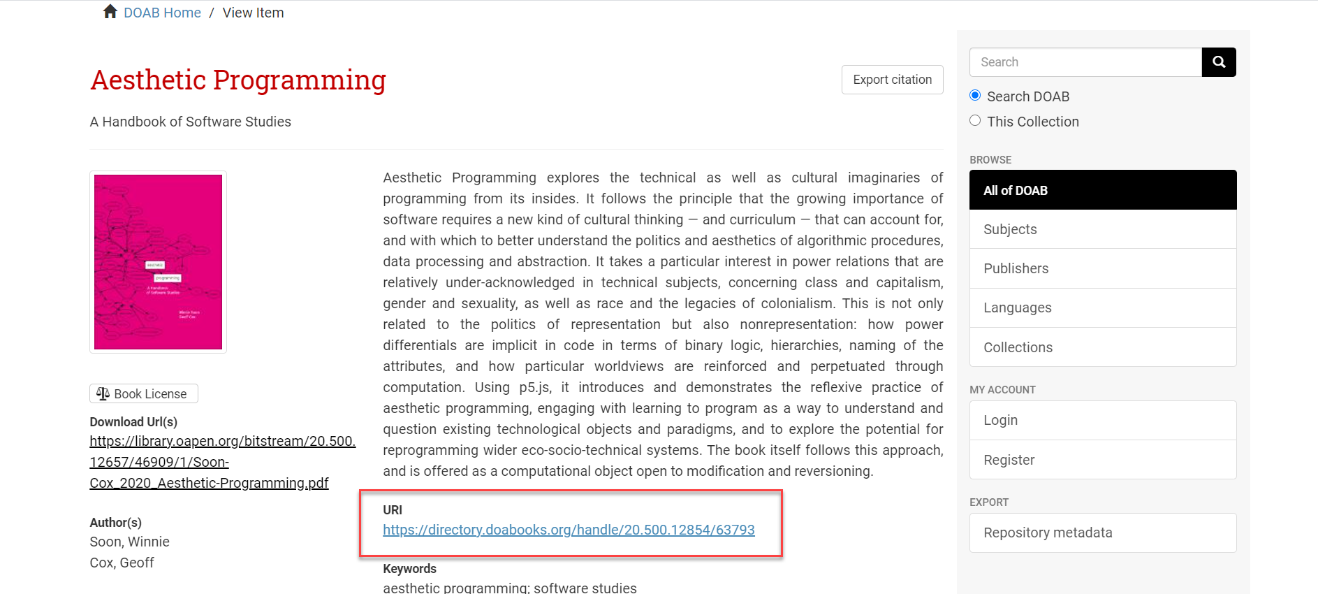 Directory of Open Access Books resource page displaying permalink