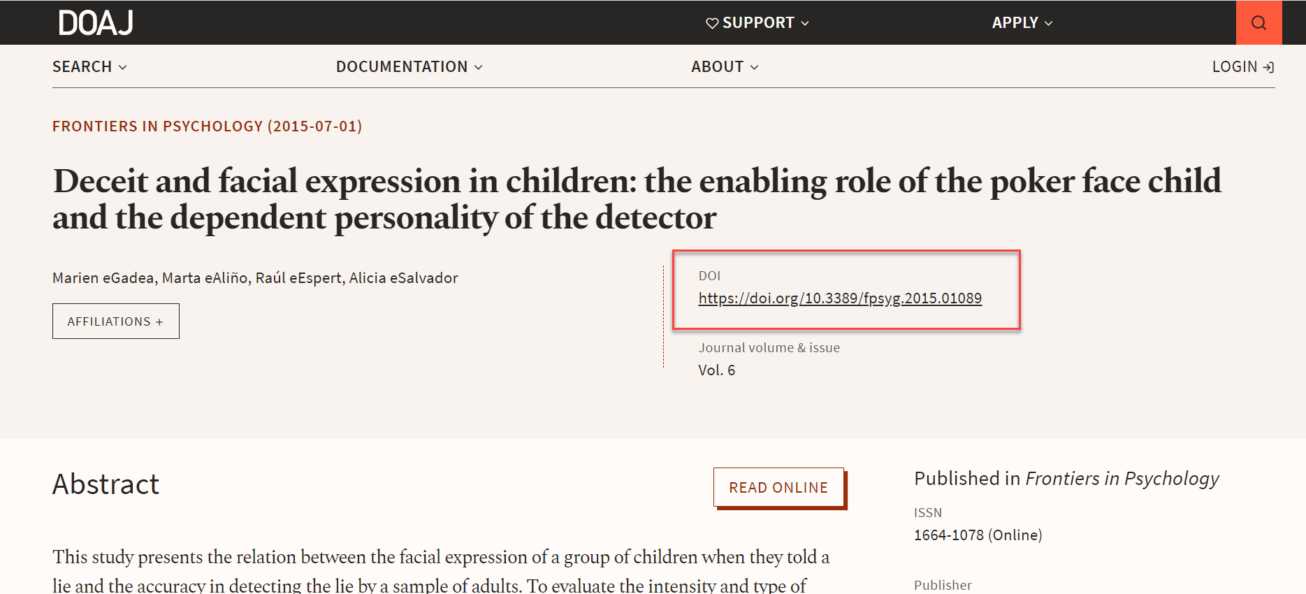 Directory of Open Access Journals resource page example with DOI
