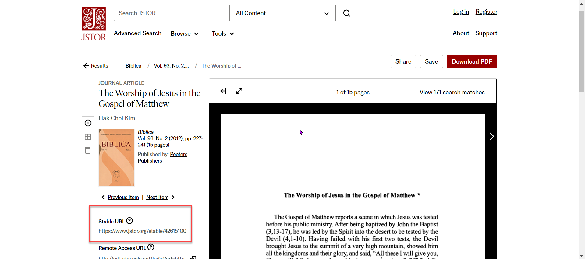 JSTOR Open Access resource landing page
