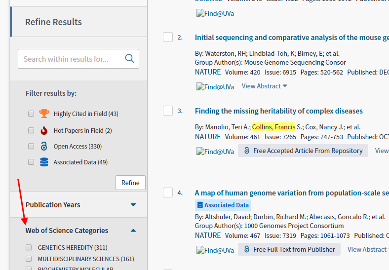 screenshot of web of science categories filter on left