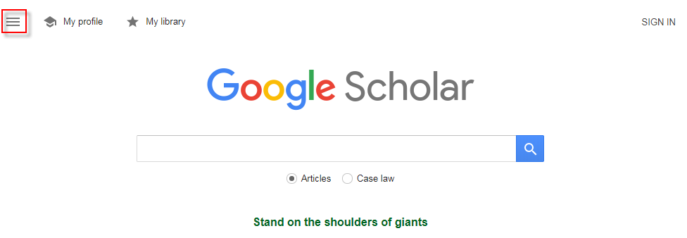 screenshot of google scholar menu button on upper left of screen