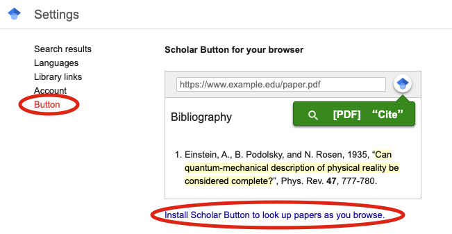 Screenshot of Scholar Settings, with Button and Install Scholar links circled