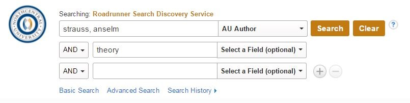 Screenshot of example search for author in Roadrunner Search.