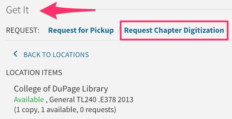 Screenshot showing the Request Digitization link in an item record in the Library catalog