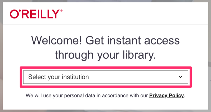 O'Reilly for Higher Education login screen