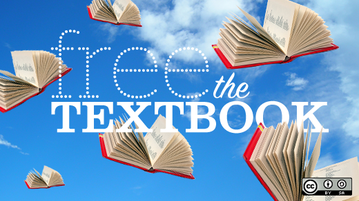 "red textbooks flying against a blue sky background with the words ""free the textbook"" overlaid"