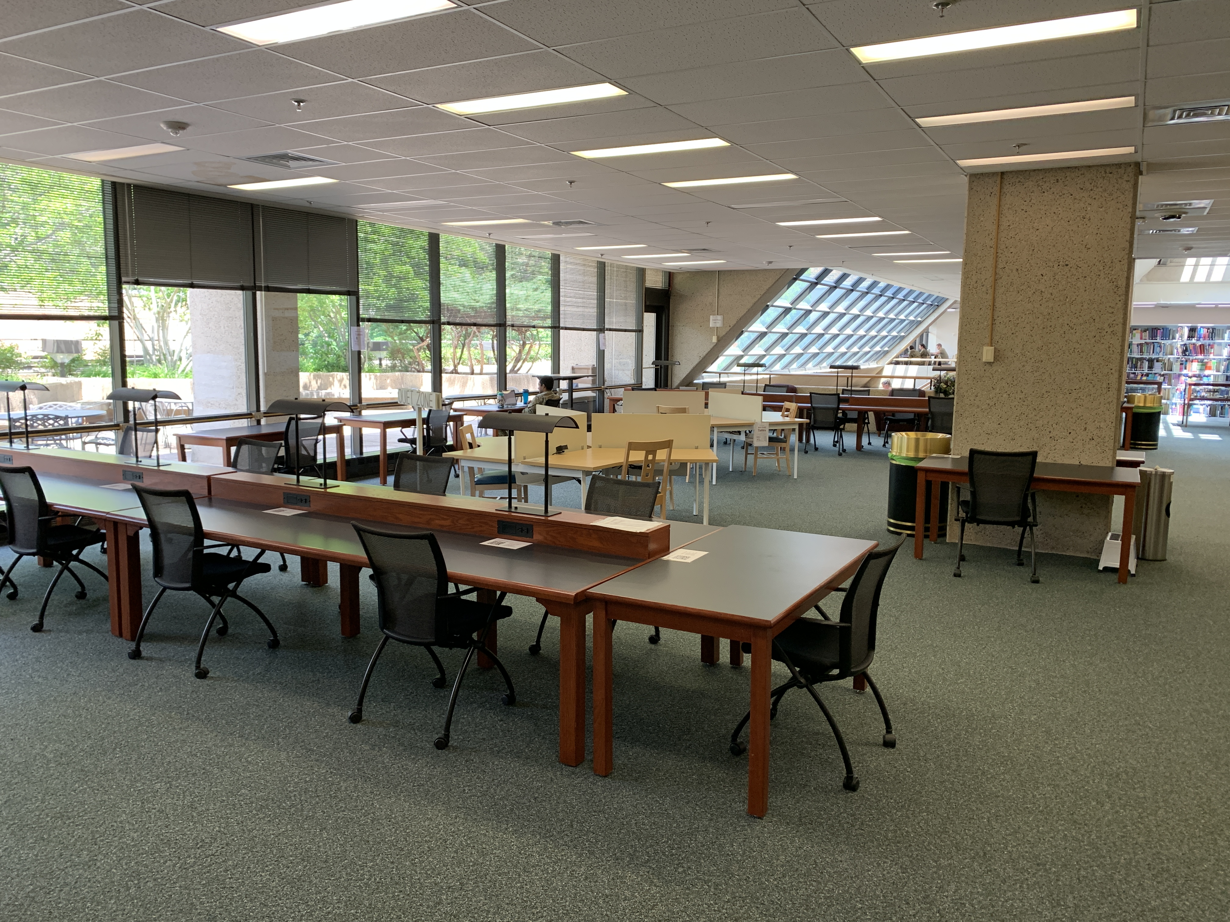 A picture of study tables on the second floor.
