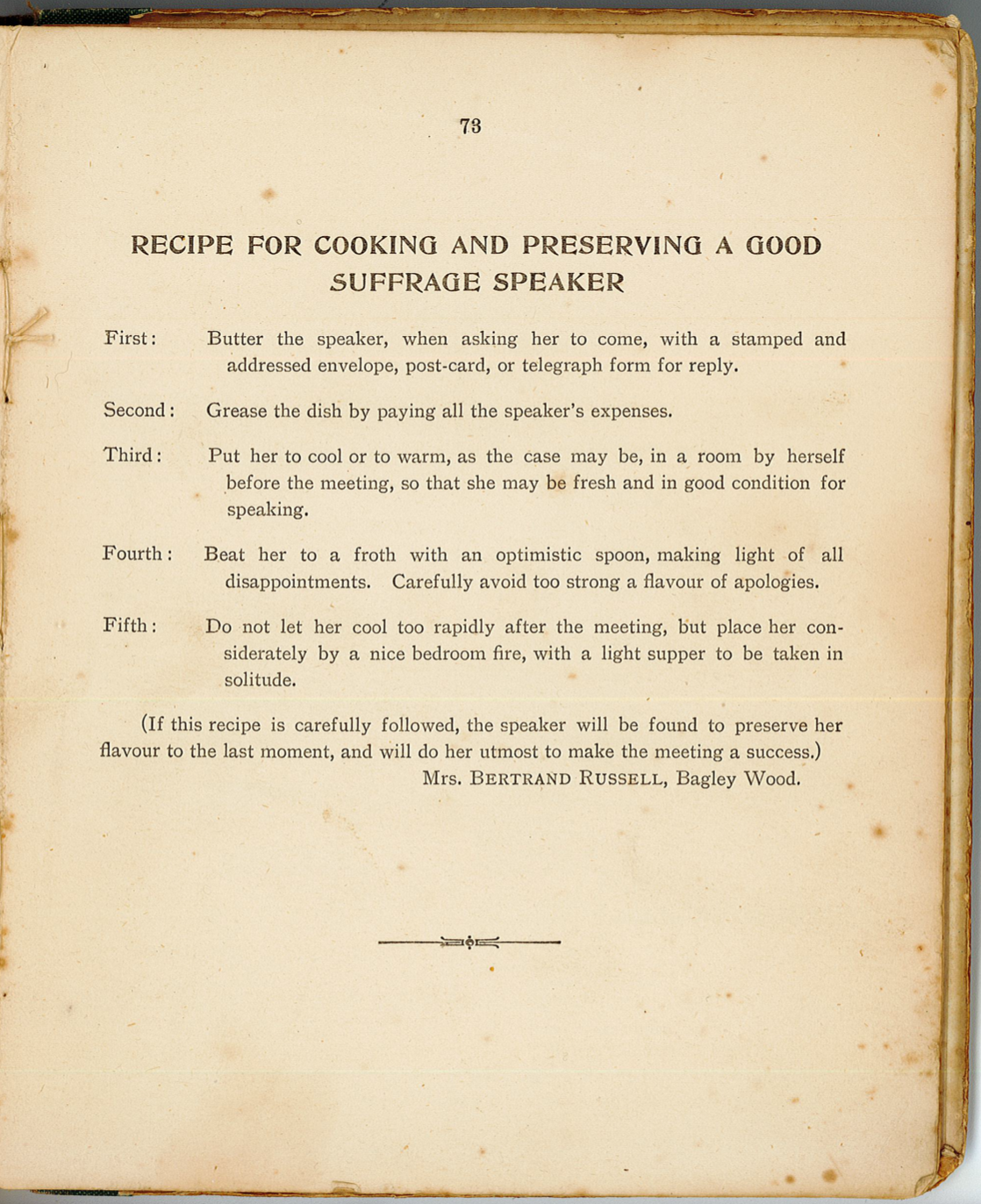 Recipe for Cooking and Preserving a Good Suffrage Speaker