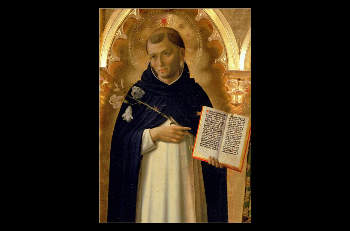 St. Dominic stands in front of a gold background, in one hand he is holding an open book, in the other some lilies