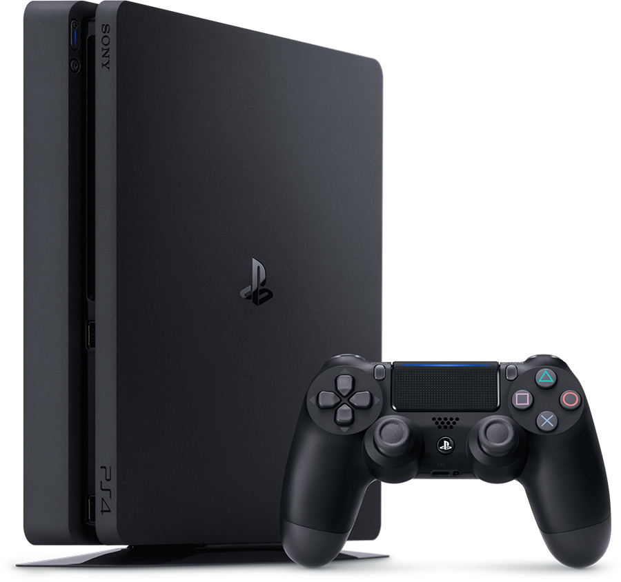A black Playstation 4 slim console with controller