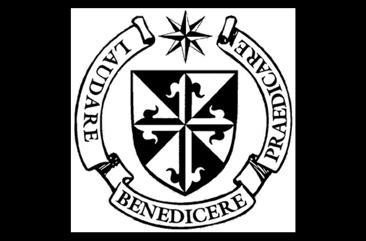 A black and white seal. In the center is a shieod, on top a star. Around the bottom it says in a banner laudare benedicere praedicare