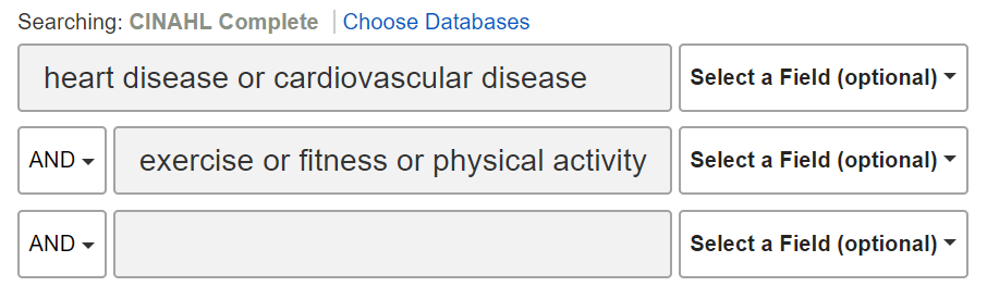 Search for heart disease or cardiovascular disease AND exercise or fitness or physical activity