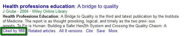 Screenshot of Cited By link in Google Scholar