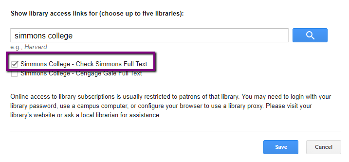 Screenshot of Google Scholar Library Links with Simmons College checked off