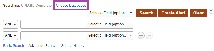 Screenshot of choose databases link