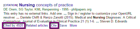 Screenshot of a Google Scholar reference with Cited by and Cite links highlighted