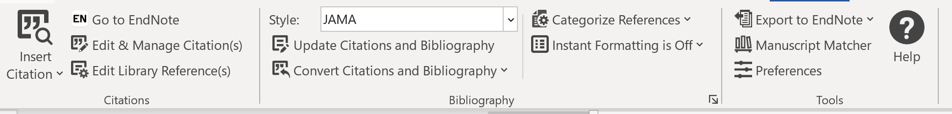 Word for Windows Cite While You Write Ribbon. Text on image: Insert Citation; Go to EndNote; Edit & Manage Citation(s); Edit Library Reference(s); Citations; Style; JAMA; Update Citations and Bibliography; Convert Citations and Bibliography; Bibliography; Categorize References; Instant Formatting is Off; Export to EndNote; Manuscript Matcher; Preferences; Help; Tools